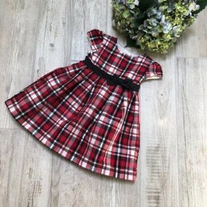 Carters Red Black White Plaid Taffeta Dress